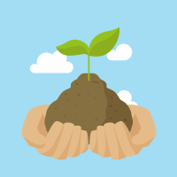 Imagen de unas manos sujetando un brote de una planta sembrada en un poco de tierra