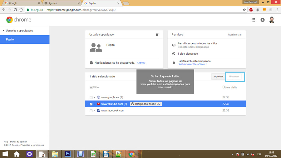 Control parental en Google Chrome 10