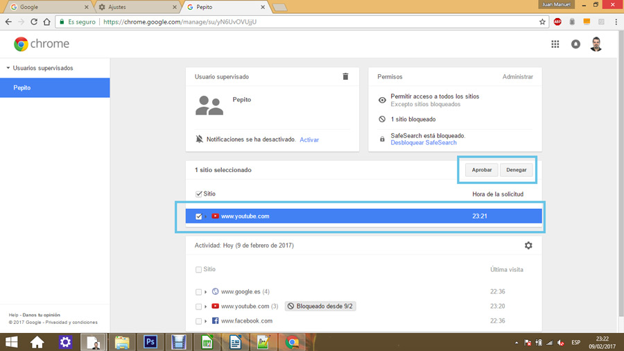 Control parental en Google Chrome 12
