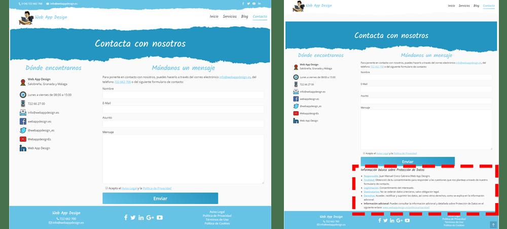 Formulario de Contacto (Antes y después de la adaptación al nuevo RGPD)