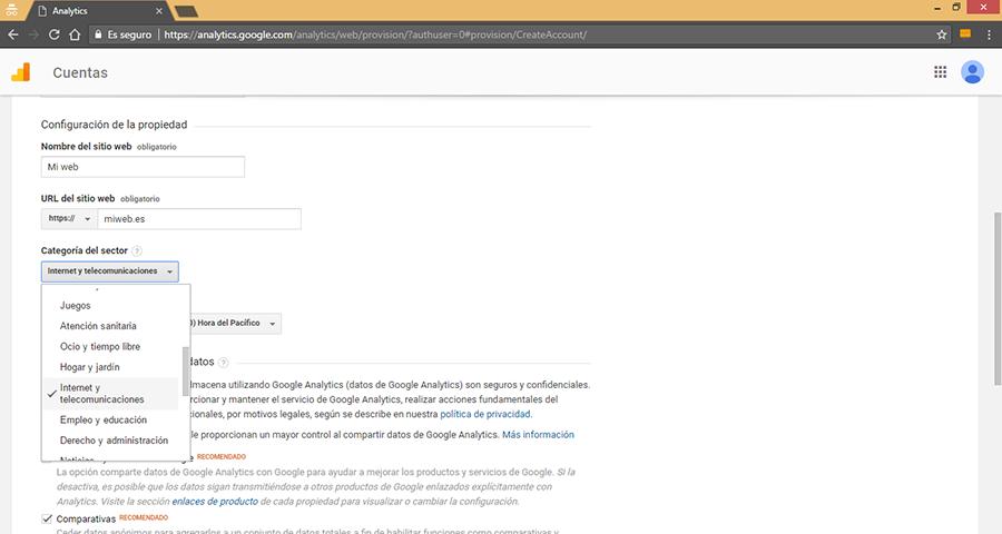 Crear Nueva Cuenta de Google Analytics II