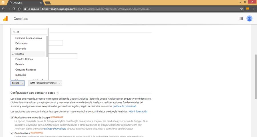 Crear Nueva Cuenta de Google Analytics III