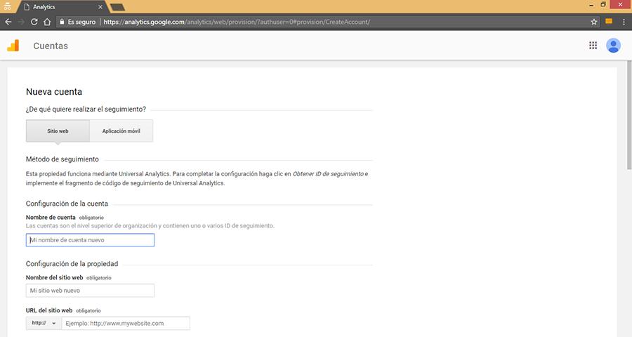 Crear Nueva Cuenta de Google Analytics