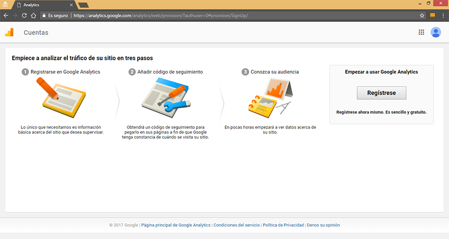 Registro de Google Analytics