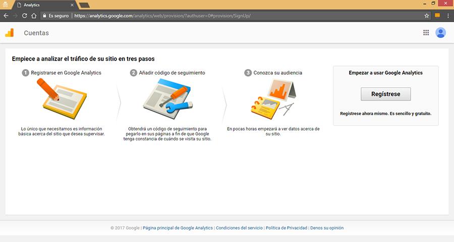 Registro de Google Analytics