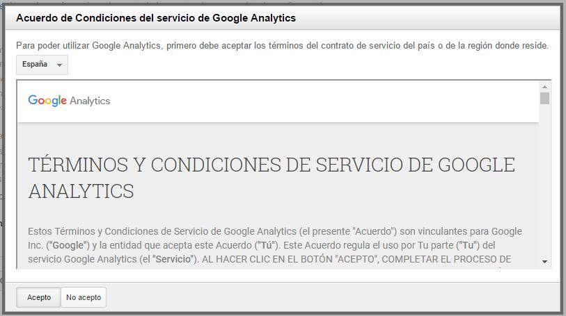 Términos y Condiciones de Servicio de Google Analytics